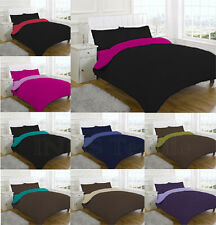 4 Pcs Complete Reversible Duvet Quilt Cover & Fitted Sheet Bed Set Two Tone