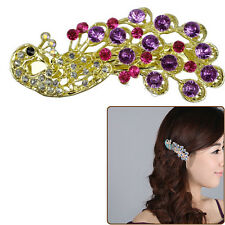 1Pcs Vintage Antique Crystal Rinestones Peacock Hairpin Hair Clip Barrette