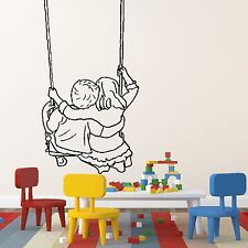 Children Swing Kids Playing Family Wall Sticker Design Decal Transfer Decor K22