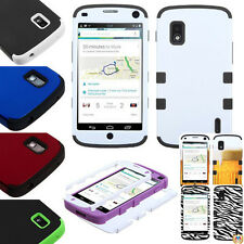 Hybrid Soft Silicone Rubberized Hard Protector Snap On Case for LG E960 Nexus 4