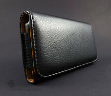 Black Zizo Premium Leather Pouch Case Belt Clip Holster Accessory CTP HTC Phone