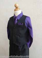 BLACK PURPLE 4 PIECES  BOYS SET VEST WITH LONG TIE FORMAL SUIT SET SZ 8 10 12 14