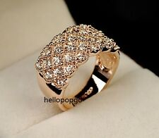 18K Rose Gold GP Swarovski Crystal Beautiful Wide Ring Size 10 Arrival