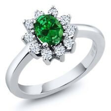 1.84 Ct Oval Green Simulated Emerald 925 Sterling Silver Ring