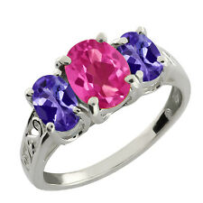 2.65 Ct Oval Tanzanite and Pink Mystic Topaz 925 Silver Ring