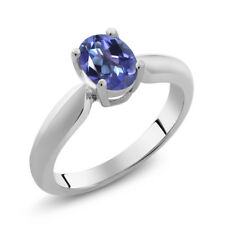 0.95 Ct Oval Tanzanite Blue Mystic Topaz Sterling Silver Ring