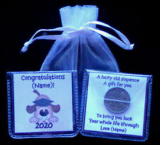 PERSONALISED GRADUATION LUCKY SIXPENCE DOGS UNIQUE KEEPSAKE GIFT 9 COLOURS