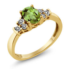 0.70 Ct Oval Green Peridot White Diamond 925 Yellow Gold Plated Silver Ring