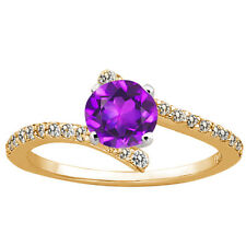 1.06 Ct Round Purple Amethyst Diamond 925 Yellow Gold Plated Silver Ring