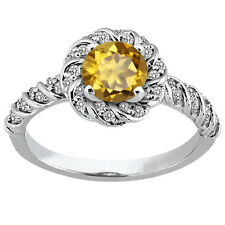 1.68 Ct Round Champagne Quartz 925 Sterling Silver Ring