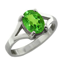 0.80 CT 7x5 Oval Cut Green Peridot White Gold Ring