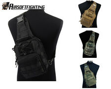 4 Color 1000D Molle Tactical Utility 3 Ways Should Sling Pouch Backpack BK/TAN A