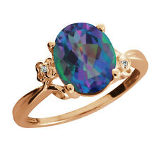 2.52 Ct Oval Millenium Mystic Quartz Rose Gold Plated 925 Silver Ring