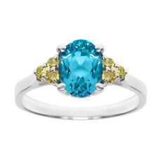 1.61 Ct Blue Topaz Canary Diamond 14K White Gold Ring
