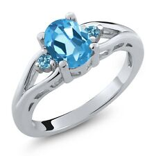 1.60 Ct Oval Swiss Blue Topaz and Simulated Topaz 925 Sterling Silver Ring