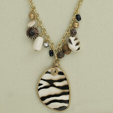 NK 16in Animal Print Pendant. 2 Sided Neckless