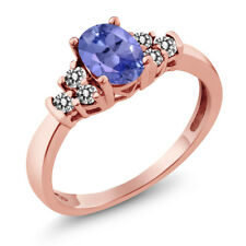 0.65 Ct Oval Blue Tanzanite White Diamond 925 Rose Gold Plated Silver Ring