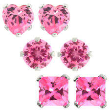 3.00 Ct 6MM 925 Sterling Silver Pink CZ Round Princess or Heart Stud Earrings