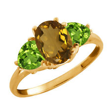 2.11 Ct Oval Whiskey Quartz and Peridot Gold Plated 925 Silver Ring
