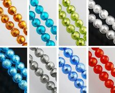 Silver Foil Inside Lampwork Glass Finding Spacer Loose Beads 10mm More Color New