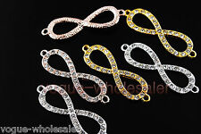 Glass Crystal Rhinestone Pave 8 Shape Bracelet Finding Link Connectors 44x13mm