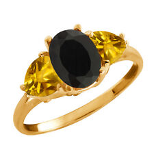 2.47 Ct Oval Black Onyx and Citrine Gold Plated 925 Silver Ring