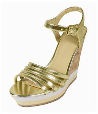 Chipo! Delicious Women's Metallic Strappy Ankle Strap Cork Wedge Sandal in Gold