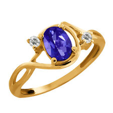 1.03 Ct Oval Purple Blue Mystic Topaz & White Topaz Gold Plated 925 Silver Ring
