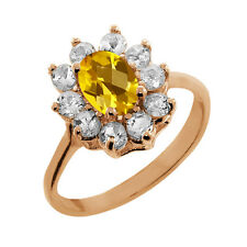 1.10 Ct Checkerboard Citrine Topaz Gold Plated 925 Silver Ring