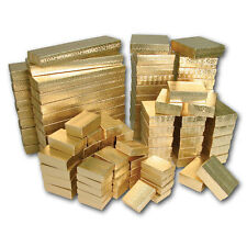 LOT of 100 GOLD COTTON FILLED BOXES JEWELRY GIFT BOXES WHOLESALE GIFT BOXES DEAL
