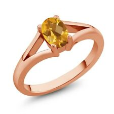 0.70 Ct Checkerboard Yellow Citrine Rose Gold Plated Silver Ring