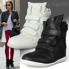 AnnaKastle New Womens Faux Leather Velcro Strap High-Top Wedge Fashion Sneakers