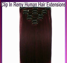 CLIP ON REMY HAIR EXTENSIONS ALL LENGTHS 99J PLUM 160 GRAMS BODY BLING