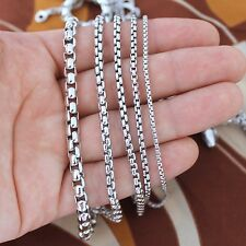 Solid Sterling Silver Round Box Chain Necklace available in 1.8, 2.5, 3, 4, 5 mm
