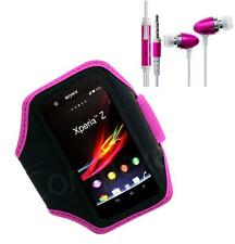 Pink GYM Running Armband Case Cover Pouch Skin + i-Headset For HTC Huawei Vrious