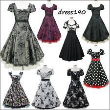 dress190 Cap Sleeve 50s 60s Rockabilly Vintage Swing Party Prom Cocktail Dress