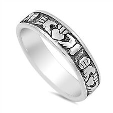Sterling Silver Claddagh Ring Available in Sizes 5 6 7 8 9 10