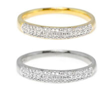 10k Ladies White/Yellow Gold Pave Wedding Band Ring 0.15ct