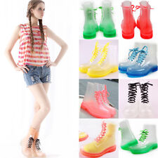 Pop Transparent Crystal ms Candy Colors  Shoes Flat For Rain Boots Martin Boots