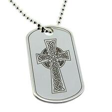 925 SILVER LARGE CELTIC CHRISTIAN CROSS DOG TAG PENDANT NECKLACE & ENGRAVING