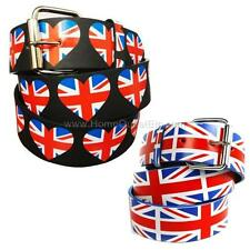 UK Flag Printed Leather Belt Union Jack United Kingdom British Britain England