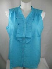 Susan Graver Embroidered Sleeveless 100% Cotton Blouse w/Ruffle Front
