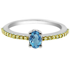 0.81 Ct Oval London Blue Topaz Canary Diamond 925 Sterling Silver Ring