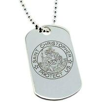 925 SILVER ST CHRISTOPHER DOG TAG CHAIN & ENGRAVING OPTIONS HOLY COMMUNION GIFT