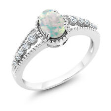 0.79 Ct Oval Cabouchon White Opal White Topaz 18K White Gold Ring