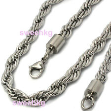 Mens Boys Heavy Thick Stainless Steel 7mm Rope Twist Shiny Chain Necklace