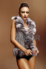 New Real Knit Rabbit Fur Vest Gilet With Fox Collar Garment Outwear QD5769 C