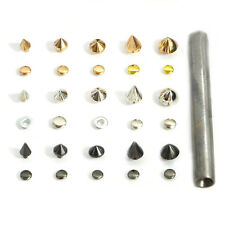 Cone Rivets Metal Spikes Studs Leather Craft Rock Punk DIY With Press Tool