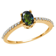 1.25 Ct Oval Forest Green Mystic Topaz and White Topaz 14K Yellow Gold Ring