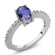 0.95 Ct Oval Checkerboard Blue Iolite and White Created Sapphire 925 Silver Ring